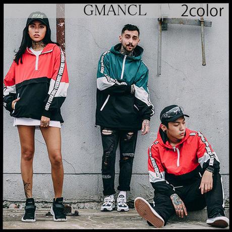 【GMANCL】2color 袖ロゴフード付きウインドブレーカー