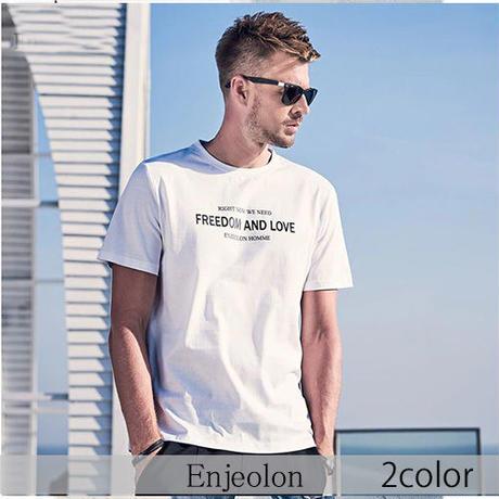 【Enjeolon】2color FREEDOMプリント半袖Tシャツ