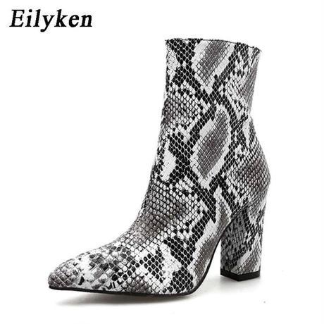 【Eilyken】パイソン柄スクエアヒールショートブーツ
