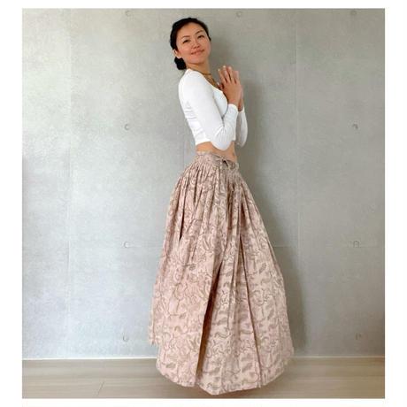 オーガニックコットン&プリント薄いピンクのマンジャリースカート