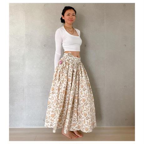 オーガニックコットン&プリント白と黄色のマンジャリースカート