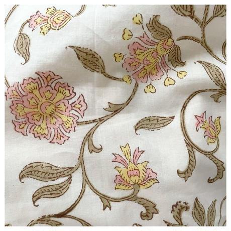 オーガニックコットン&プリント白と黄色のドレス