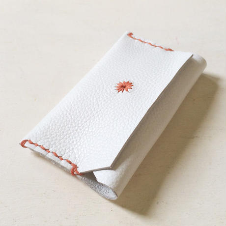 Leather Card Case/ WHITE-a