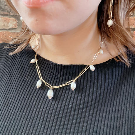 【LIBERTY】_Candy pearls :Chunky chain_Lily ネックレス Gold210103 / Silver210104