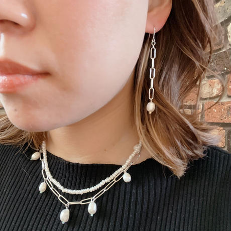 【LIBERTY】_Candy pearls :Chunky chain_Long ピアス210302 / イヤリング210402 _Silver