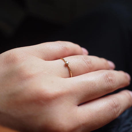 【10K】 One stone thin ring_ ダイヤモンド