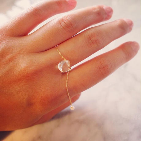 【10K】 Chain ponpon ring_ 水晶