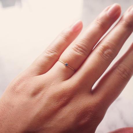 【10K】 One stone thin ring_ サファイヤ