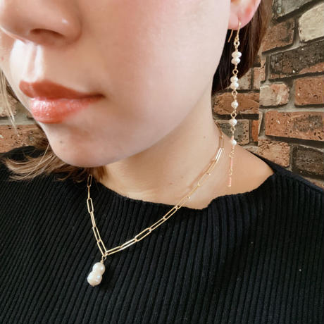 【LIBERTY】_Candy pearls :Thin wind ピアス210305 / イヤリング210405_Rose pink