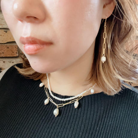【LIBERTY】_Candy pearls :Chunky chain_Long  ピアス210301 / イヤリング210401_Gold