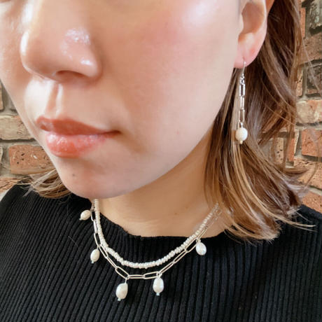 【LIBERTY】_Candy pearls :Chunky chain_Short  ピアス210316 / イヤリング210416_Silver