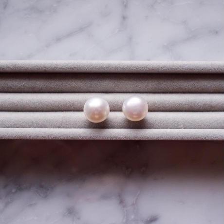 【10K】 Simple pearl pierce _ 大粒白