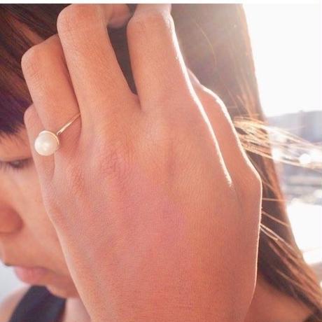 【受注品】【Ryona song】本真珠リング:〈RN003〉一粒ダイヤモンド