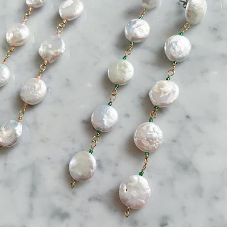 【LIBERTY】_Candy pearls :Dancing_Long ピアス / イヤリング _Emerald green