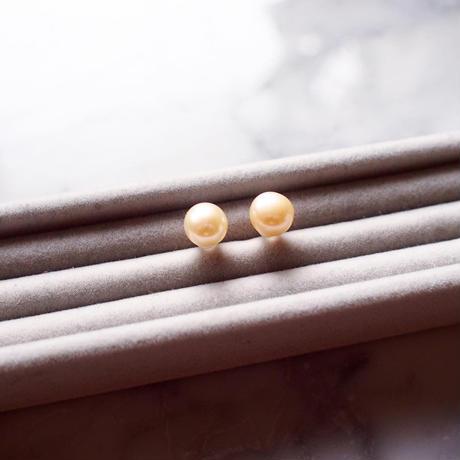 【10K】 Simple pearl pierce _ Roseイエロー