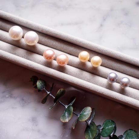 【10K】 Simple pearl pierce _ Silverグレー