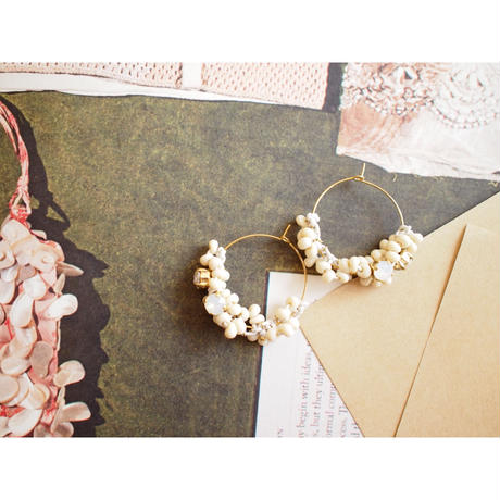 SWR Half leather drop hoop earrings_White