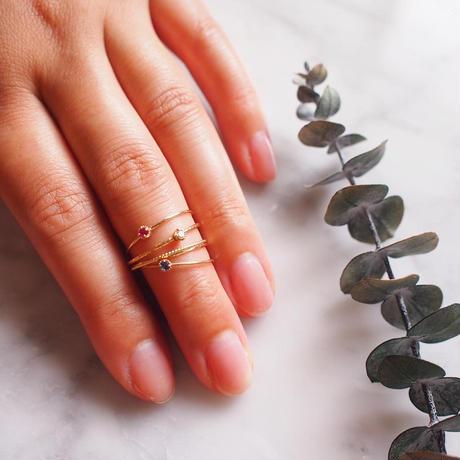 【10K】 One stone thin ring_ ルビー