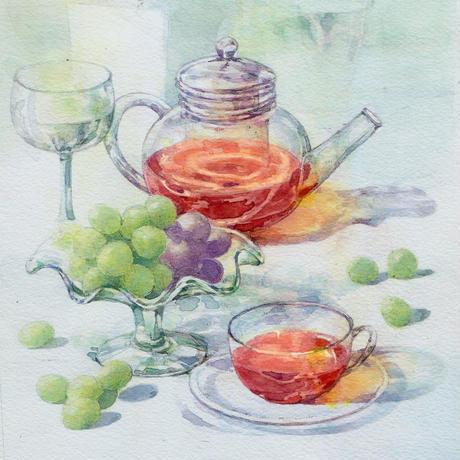 葡萄とティーポット