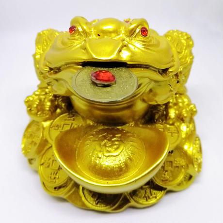 入魂済!財運アップの金色三脚カエル(L)