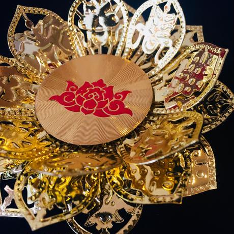 チベット昇運アイテム「~タシ・タゲ~蓮のキャンドルホルダー」※ガラスシェード付き