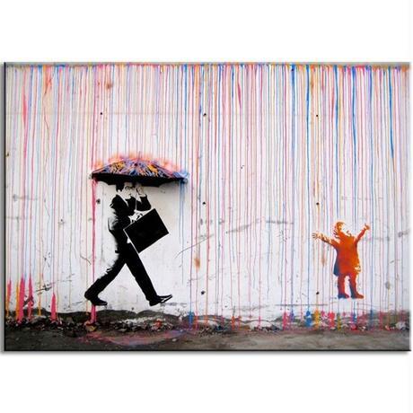 """バンクシー *カラフルな雨 30x40cm (12""""×18"""")*キャンバスアート *BANKSY"""