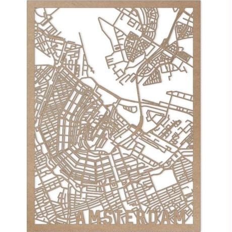 RED CANDY●CITYRMAPAMS●市内地図アムステルダム●ナチュラル●30×40㎝●City Map Amsterdam