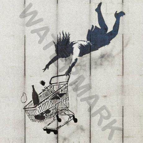 """バンクシー *落ちるまで買い物/Shop Till You Drop*61 x 61cm (24"""" x 24"""")*キャンバスアート(フレーム無し)*BANKSY"""