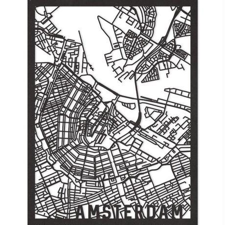 RED CANDY●CITYRMAPAMS●市内地図アムステルダム●黒●50×70㎝●City Map Amsterdam