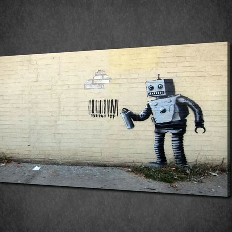 """バンクシー *バーコードを落書きするロボット 40×60㎝ (16"""" x 24"""")  *キャンバスアート*BANKSY"""