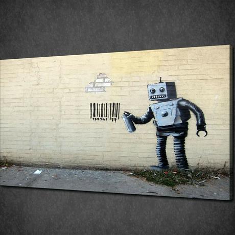 """バンクシー *バーコードを落書きするロボット 30x40cm (12"""" x 18"""") *キャンバスアート*BANKSY"""