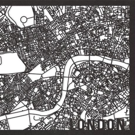 RED CANDY●CITYRMAPLON●市内地図ロンドン ●黒●30×40㎝●City Map London