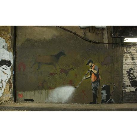 """バンクシー *先史時代の高圧洗浄*98 x 61 cm (39"""" x 24"""")*キャンバスアート(フレーム無し)*BANKSY"""
