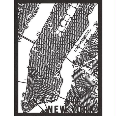 RED CANDY●CITYRMAPNYC●市内地図ニューヨーク●黒●30×40㎝●City Map New York