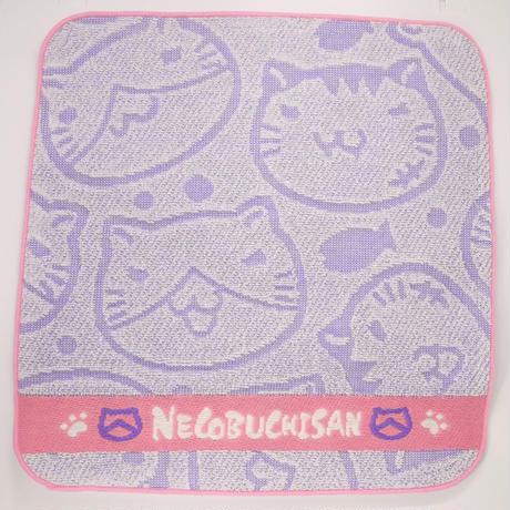 ねこぶちジャガードミニタオル(薄紫)《送料無料》51856004