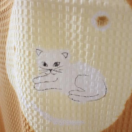 猫 竹絞り帯揚げ からし