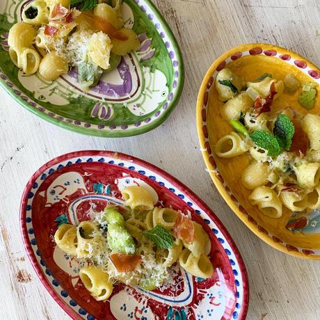 野菜のフリット・そら豆パスタ・ワカメのアクアパッツァ・マスカルポーネロールケーキ