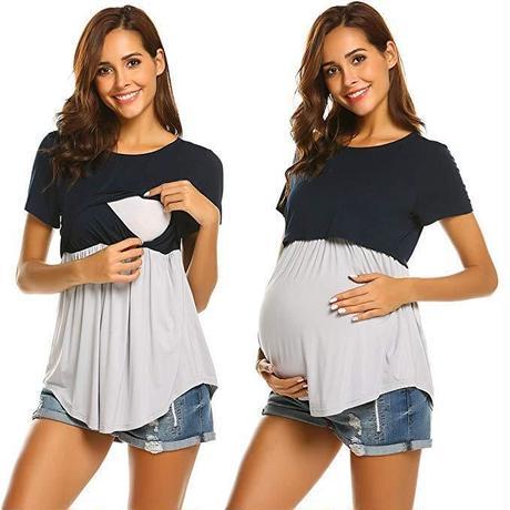 マタニティウエア 授乳服 切り替えTシャツ 半袖 S~XLまで
