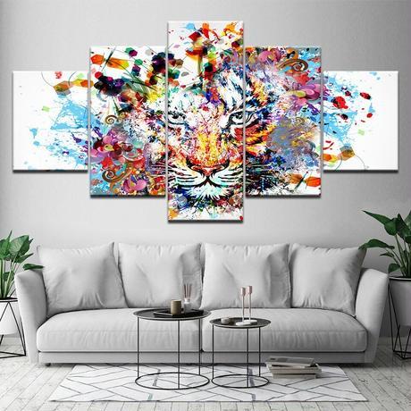 【特大】キャンバスアート 絵画 パネルアート インテリア 壁掛け アート カラフル トラ 虎 壁画