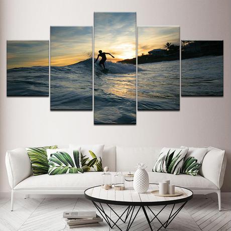 【特大】キャンバスアート 絵画 パネルアート インテリア 壁掛け 海の絵 夕日 サーフィン ハワイ バリ 海 空