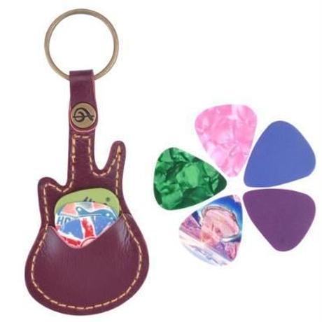 ギターピックケース 本革 キーチェーン キーリング キーホルダー ピック