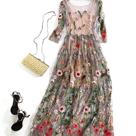 ワンピース 刺繍 花柄 シースルー レディース パーティ 結婚式