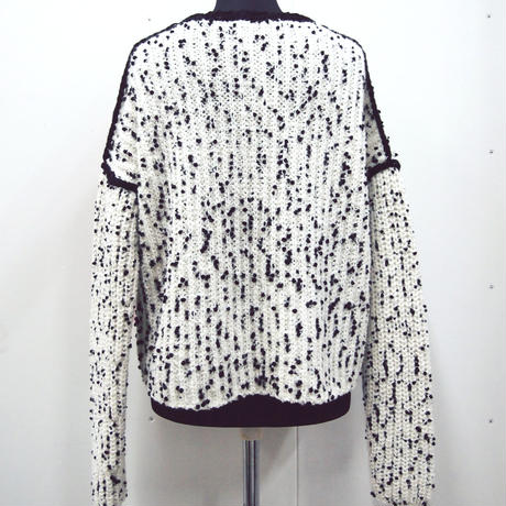 Pon Pon Ribbon knit < White / Black >