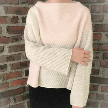 【Pre-order】Combination knit <White×L.Pink×L.Gray mix>_Ladies Free size