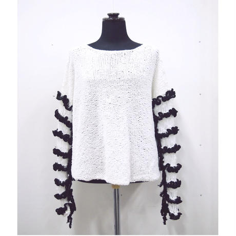 Frilled Lace Sleeves < short ver. / white × black >