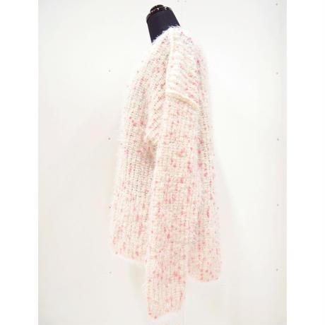 Pom Pons fur knit < WHITE×PINK dots >