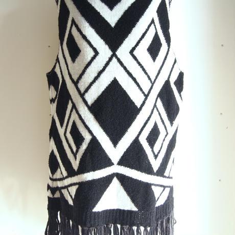 Geometric fringe dress < Black / White >