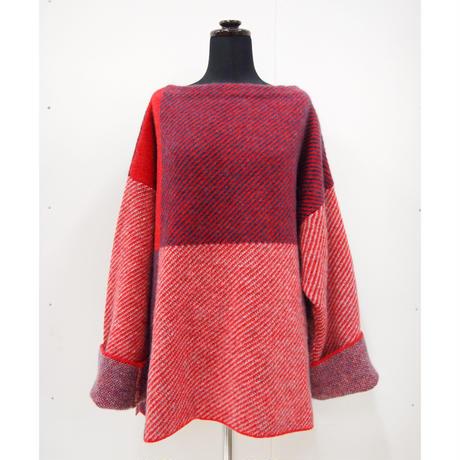 Color Combination knit _ Unisex L < Red / Black >