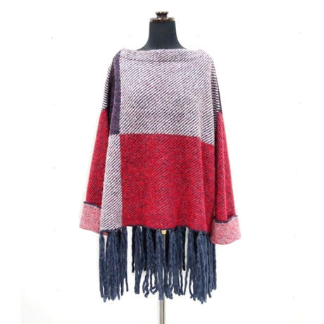 Combination Fringe knit <Navy×RED×WHITE> _ Unisex_F size