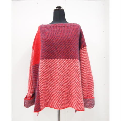 Color Combination knit _ Ladies Free < Red / Black >